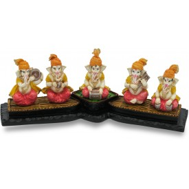 Ganesha Playing 5 Musical Instruments Handmade Polyresin - Resin made Ganesha elephant God with musical instruments