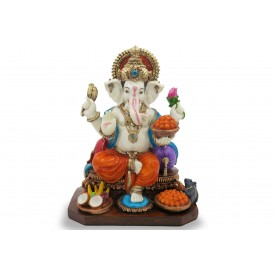 Majestic Ganesha Statue Handmade in Polyresin - Ganpati Idol made in resin for Elephant God Devotees