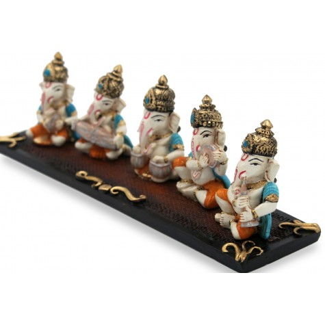 5 Ganeshas Playing Different musical instruments Handmade Polyresin - Ganesh statues playing musical instruments in resin