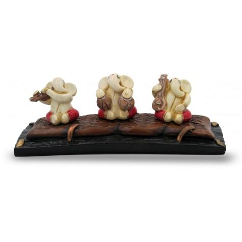 3 Set of Ganesha playing musical Instruments