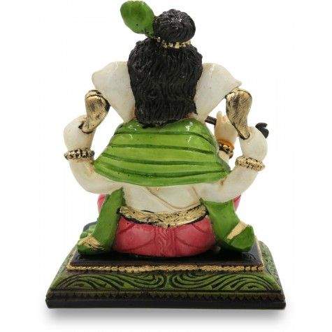 Ganesha playing Flute Handmade Polyresin - Ganesha Idol in Resin Handicraft for Gifting