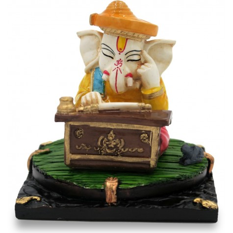 Thinking Ganesha Cute Handmade in Polyresin - Home Decor Ganesh Idol for Gift