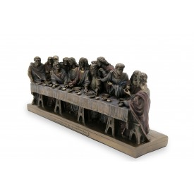 The Last Supper of Jesus Christ Handmade in Polyresin with Brass finish - Jesus with his apostles in last supper