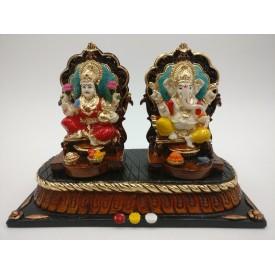Laxmi Ganesh Statue in Polyresin - Diwali special gift Ganesha Lakhsmi Idol 6 inches