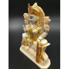 Goddess Laxmi sitting on lotus statue in marble 5 inches - Devi Lakshmi hand carved idol and figurine for home temple decor - Diwali gifts