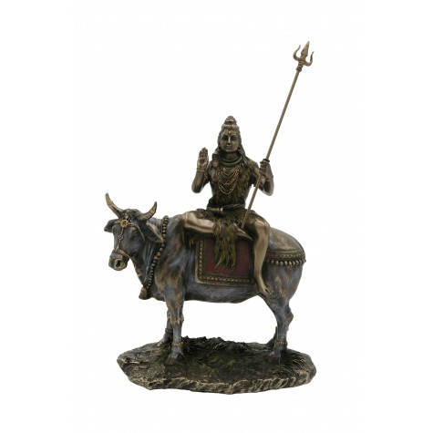 Shiva sitting on Nandi Bull - Polyresin Statue of Lord Shiva on Nandi - Religious Handicraft
