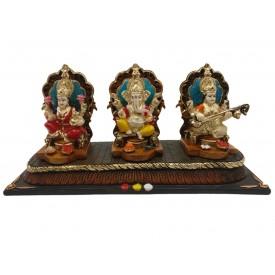 Laxmi Ganesh Saraswati Statue in Polyresin - Ganesha Lakshmi Saraswati Idol for Diwali