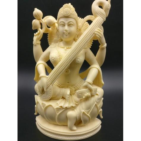 Saraswati statue hand carved in marble dust 8 inches - Goddess of learning Saraswathi Idol | Murti | Sculpture | Figurine