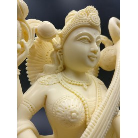 Saraswati statue hand carved in marble dust 8 inches - Goddess of learning Saraswathi Idol | Murti | Sculpture | Figurine