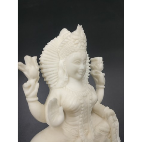 Laxmi sitting on lotus statue in marble dust 5 inches - Devi Lakshmi hand carved idol and figurine for temple or home decor - Diwali gifts