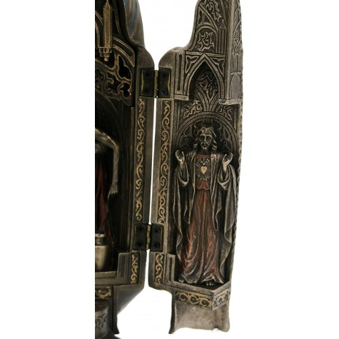 Triptych of The Virgin Mary hinged Statue with Sculpture of Pieta in The Center and Side Panels of Blessed Mother and Sacred Heart of Jesus