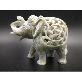 Elephant hand carved figurine in natural Gorara soapstone with baby elephant inside - Gorara | Soapstone elephant statues, carvings and gifts - stone handicrafts