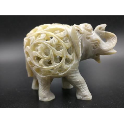 Elephant hand carved figurine in natural Gorara soapstone with baby elephant inside - Gorara | Soapstone elephant statues, carvings and gifts - stone handicrafts