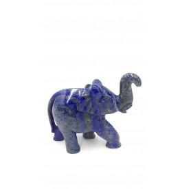 Elephant Statue in Lapis Lazuli Stone - Handmade elephant with healing stone Lapis Lazuli
