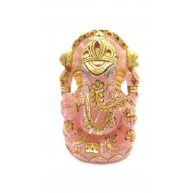 Ganesha Idol in Rose Quartz - Handmade Statue of Lord Ganesha in Semi Precious Stone 894 gms