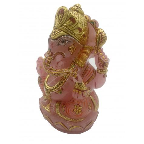 Ganesha Idol in Rose Quartz - Handmade Statue of Lord Ganesha in Semi Precious Stone 1453 gms