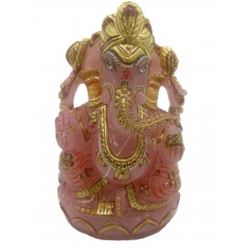 Ganesha Idol in Rose Quartz - Handmade Statue of Lord Ganesha in Semi Precious Stone 1453 gms