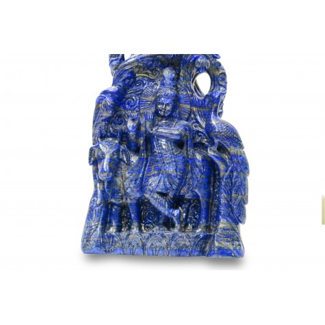 Krishna Statue in Lapis Lazuli Stone | Idol | Sculpture of Lord Krishna playing flute on the head of multi hooded Serpent Kaaliya - Carving of Krishna on both sides