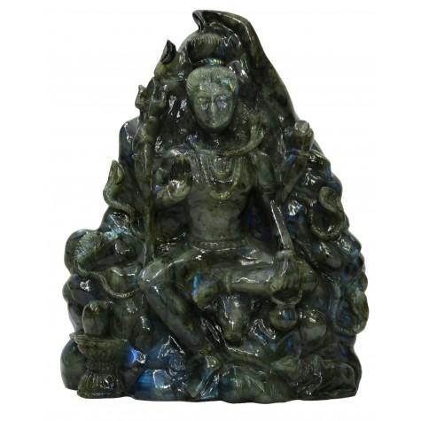 Lord Shiva made in Labradorite Stone - Most Unique statue made of semi precious stone Black Rainbow