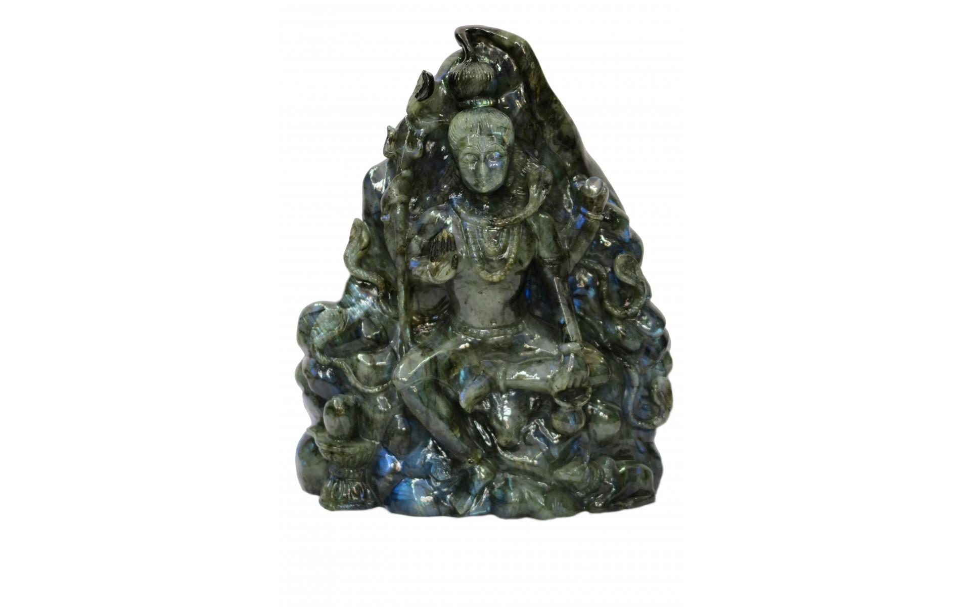 Shiva Statue HandCarved in Labradorite Stone