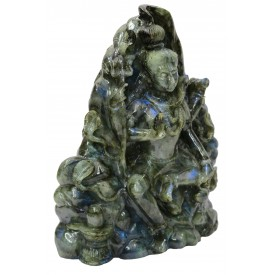 Lord Shiva made in Labradorite Stone - Most Unique statue made of semi precious stone Black Rainbow
