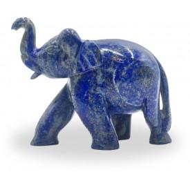 Elephant in Semi Precious Stone Lapis - Handmade elephant with healing stone Lapis lazuli