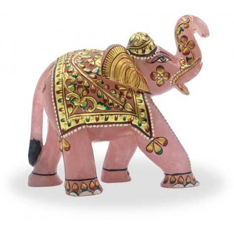 Elephant in Rose Quartz - Semi Precious Stone Elephant - Ideal Gift for Love and Healing
