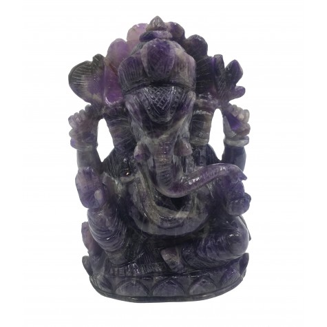 Lord Ganesha in Amethyst Stone - Handmade Elephant God made in semi precious stone