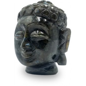 Buddha Head Figurine in Black Rainbow Stone also called Labradorite Stone - Home Decor for Peace and Healing Semi Precious Stone