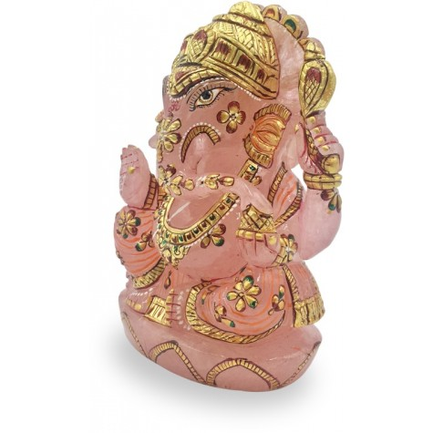 Ganesha Idol in Rose Quartz - Handmade Statue of Lord Ganesha in Semi Precious Stone