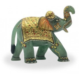 Elephant in Jadestone with Gold Foil - Semi Precious Jadestone Elephant hand sculpted Gift item Handicraft