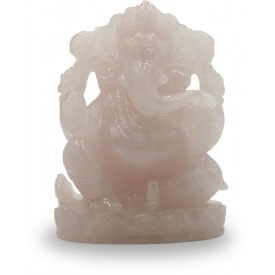 Ganesha Statue in Rose Quartz - Semi Precious Rose Quartz Ganesh Idol