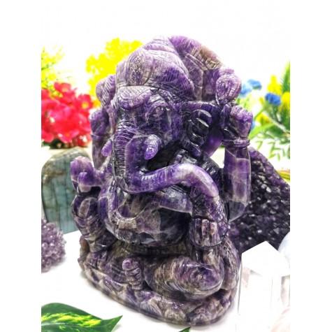 Ganesh Statue hand carved in Amethyst 8 inches 3.2 kg - Lord Ganesha carving | Idol | Gemstone Figurine