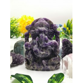Ganesh Statue hand carved in Amethyst 8 inches 3.2 kg - Lord Ganesha carving | Idol | Gemstone Figurine