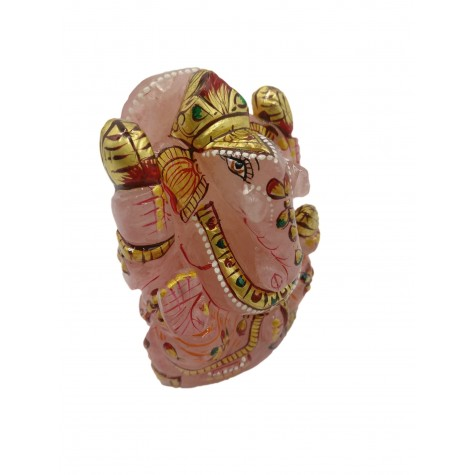 Rose Quartz Ganesh Statue 3.3 Inches with Gold foil artwork
