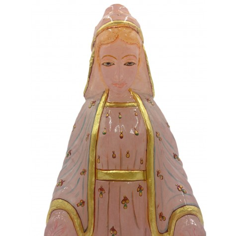 Mother Mary figurine 13 inches - Rose Quartz carving of Virgin Mary statue
