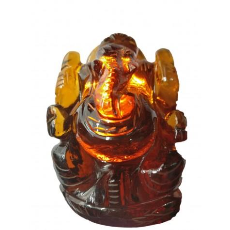 Citrine stone Ganesha 3 inch - Elephant God Ganpati brilliantly hand carved out of crystal stone - Ganesh idols and gift