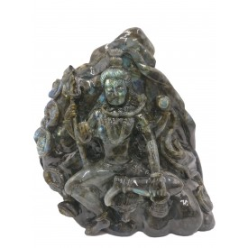 Shiva Statue in Labradorite Stone - Rare Unique Sculpture in Black Rainbow Stone - 11 kilos