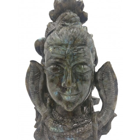 Labradorite Stone carving of Lord Shiva head with multiple Snakes and Shiv Lingam | Shiva Statue | Sculpture in Black Rainbow Stone
