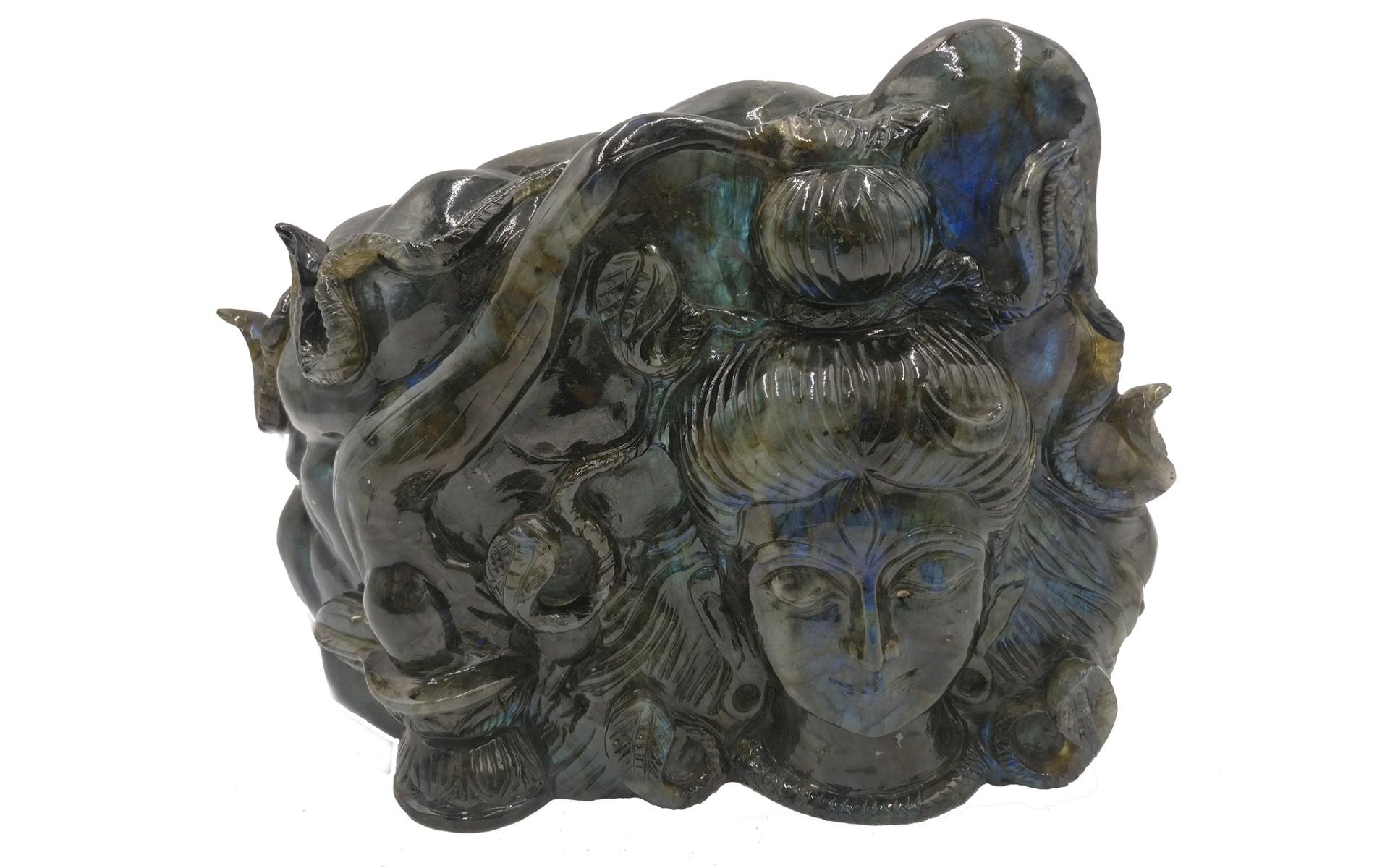 Shiva Statue in Black Rainbow Labradorite Stone