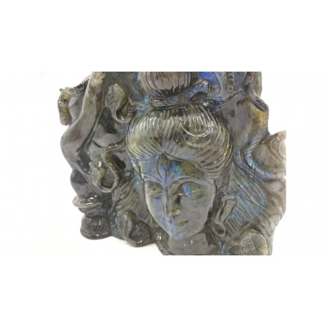 Shiva Statue in Labradorite Stone - Rare Unique Sculpture in Black Rainbow Stone