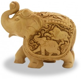 Elephant with Carving of Hunt made in wood