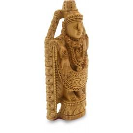 Tirupati Balaji Statue Carved in Wood - Wooden Idol of Lord Venkateswara
