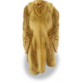 Elephant in Wood with Carving of Hunting Lion on its Belly - Wooden Handicraft from India