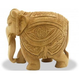 Elephant made in wood with beautiful carving - Indian Handicraft in wood