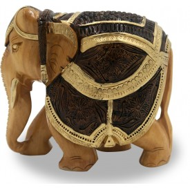Elephant with Carving and Antique Look in Wood - Wooden Handicrafts from India