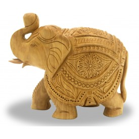Elephant in Wood with Trunk Up - Indian Handicraft in wood