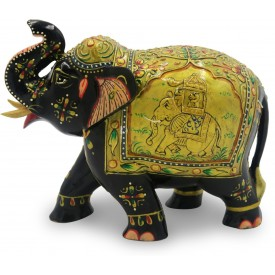 Elephant in Wood Upper Trunk with Miniature Painting - Handmade from India