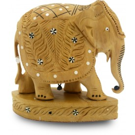 Elephant Indian Handicraft in Wood with Design Carved - Gift an Elephant