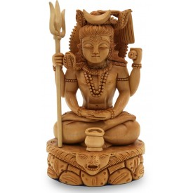 Lord Shiva Sitting in Penance Handmade in Wood - Shiva Statue in Wood Indian Handicraft